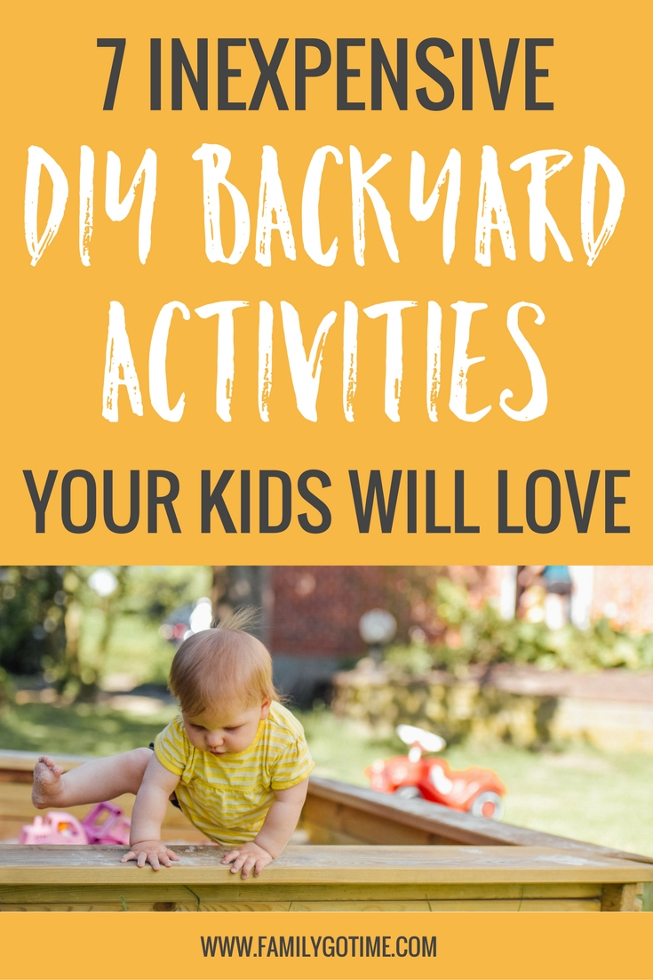 I have been looking for some DIY backyard activities to make a fun, engaging and even educational space for our children to play. I have found these inexpensive activities that will make your backyard a place where you kids want to be.